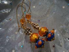 Ohrringe,Pünktchen, orange, blau von kunstpause auf DaWanda.com