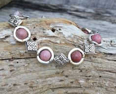 Pink Gemstone Bracelet Gemstone Jewelry by CathysCraftyDesigns