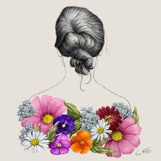 Eeva Meltio: Flower Lady. Digital painting. My Works, Digital, Lady, Illustration, Flowers, Painting, Painting Art, Paintings, Illustrations