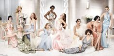 Photos: A Year in Vanity Fair Photography | Vanity Fair- Rooney Mara, Mia Wasikowska (sitting), Jennifer Lawrence (standing), Jessica Chastain, Elizabeth Olsen, Adepero Oduye, Shailene Woodley, Paula Patton, Felicity Jones, Lily Collins, and Brit Marling, photographed by Mario Testino. Styled by Jessica Diehl.