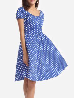 #AdoreWe #FashionMia Skater Dresses - FashionMia Polka Dot Lovely Round Neck Skater-dress - AdoreWe.com