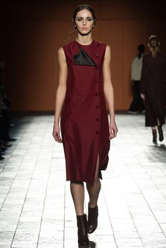 Paul Smith | Fall 2015 Ready-to-Wear | 33 Red buttoned sleeveless midi dress