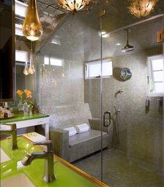 3 Vivid Cool Ideas: Minimalist Home Style Window modern minimalist interior floor plans.Minimalist Home With Kids Teen Bedroom minimalist interior living room sofas. Eclectic Bathroom, Bathroom Interior, Modern Bathroom, Master Bathroom, Shower Bathroom, Bathroom Bench, Bath Bench, Colorful Bathroom, Bathroom Green