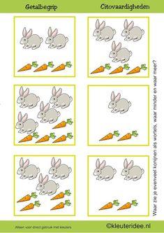 Citovaardigheden voor kleuters, kleuteridee.nl ,meten en getalbegrip, Waar zie je evenveel, waar meer en waar minder wortels dan konijnen  , rekenen voor kleuters, preschool math, free printable
