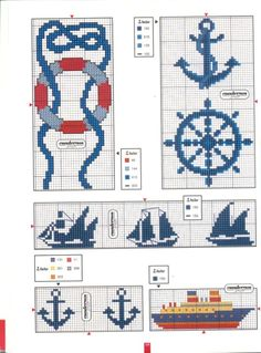 Grids for crochet. I could have sooo much fun with these! Cross Stitch Sea, Cross Stitch Bookmarks, Cross Stitch Needles, Counted Cross Stitch Patterns, Cross Stitch Charts, Cross Stitch Designs, Cross Stitch Embroidery, Embroidery Patterns, Nautical Crochet