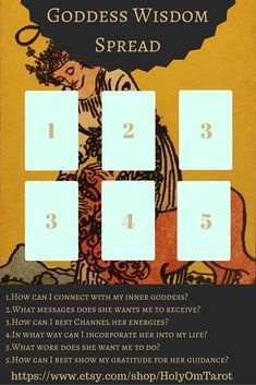 A tarot spread designed to help you access your inner goddess! For readings, visit: www.esty.com/shop/holyomtarot tarot, tarot spreads, goddess, wisdom, pagan, witchcraft