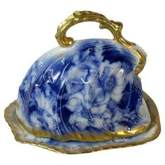 Check out this item at One Kings Lane! Antique Flow Blue Domed Cheese Server