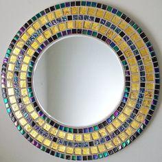 Beautiful Handmade Mosaic Mirror Bevelled Edge Glass Gold  Mosaic Tile