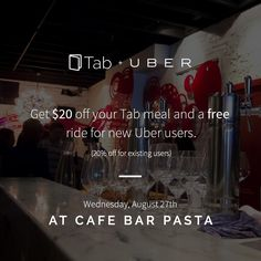 See you at our last Leave Your Wallet at Home Wednesday at Cafe Bar Pasta w/ Uber Toronto Uber Toronto, Cafe Bar, Gta, Ontario, Wednesday, Canada, Wallet, Coffee Cozy, Handmade Purses