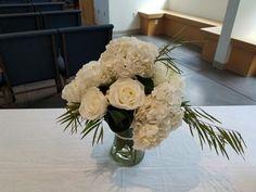 White Hydrangea, white roses, guest book table.  #dsmweddings #whiteweddings
