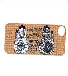 henna hands on burlap look background iphone 4 by icasecouture, $16.00