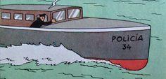 Tintín en América - Canoa del Sindicato de Gánsteres de Chicago en el Lago Michigan, camuflada como Canoa nº 34 de la Policía