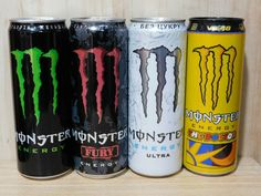 Set Empty Cans MONSTER Energy Drink for Ukraine 355 ml. 2020 - 4 pcs. #MonsterEnergy Monster Energy, Energy Drinks, Cannes, Ukraine, Empty, Boards, Planks