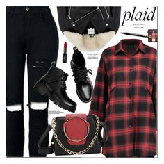 """""""Check It: Plaid"""" by oshint ❤ liked on Polyvore featuring Warehouse, NYX and Huda Beauty"""