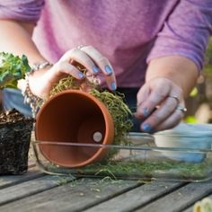 Moss covered pots then fill and give as a hostess gift.You could put a couple together in a basket and plant in them herbs!