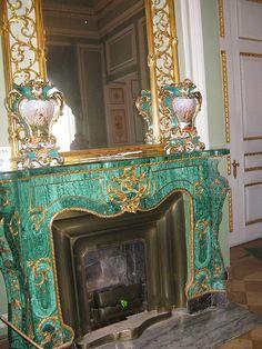 Malachite fireplace, St. Petersburg, Russia