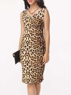 #Fashionmia - #Fashionmia Leopard Women's V Neck Bodycon-dress - AdoreWe.com