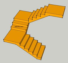 u design or switch back stairs with two landings