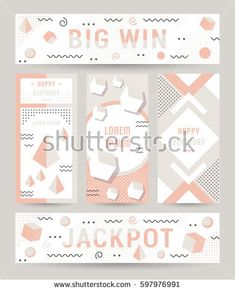 Elegant modern flyers and cards with origami and geometric elements. Trendy Retro design poster, cover, card and banner. Abstract design backgrounds, placards collection and mobile website.