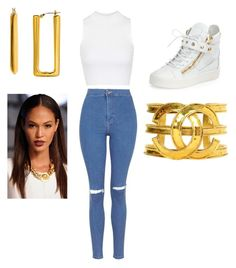 """""""Untitled #9"""" by kayla-daniels on Polyvore featuring Topshop, Giuseppe Zanotti, Chanel and Diane Von Furstenberg"""
