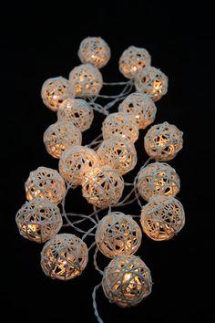 20 White Rattan Ball String Lights Fairy lights Party Decor Wedding Bedroom Garden Spa and Holiday Lighting via Etsy