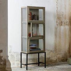bepurehome vitrinekast showcase 3 deurs grijs metaal hout 182x60x40cm vitrine glas dekorativer stauraum