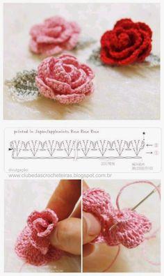 Watch The Video Splendid Crochet a Puff Flower Ideas. Phenomenal Crochet a Puff Flower Ideas. Roses Au Crochet, Appliques Au Crochet, Col Crochet, Crochet Puff Flower, Crochet Flower Tutorial, Crochet Leaves, Crochet Flower Patterns, Crochet Diagram, Crochet Motif