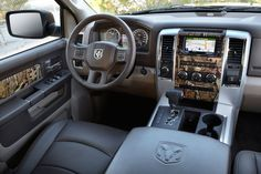 Camo interior 2013 Dodge ram 1500. I'd change it to snow camo since that's what I want on the outside