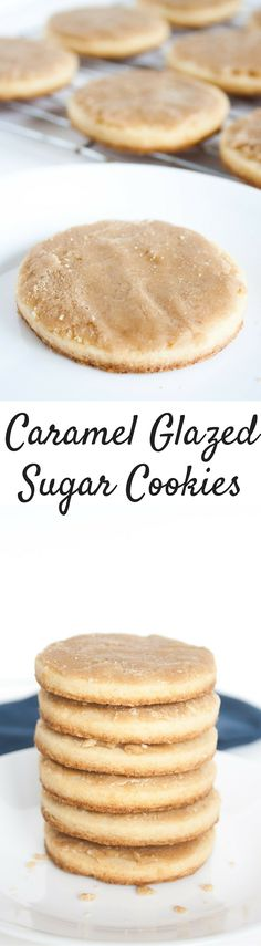 Caramel Glazed Sugar Cookies. Thick and chewy sugar cookies stopped with a melt in your mouth caramel glaze!