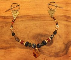 Reproduction Viking Penannular Brooch and Bead Festoon Set with Baltic Amber Pendant.