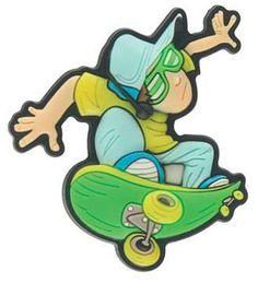 Jibbitz Retro Skater Dude Funny Shoe Charms GREEN Jibbitz. $6.95