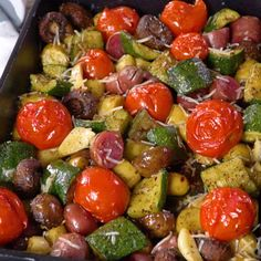 These are a hit every time. These are a hit every time. Perfectly tender and pac… Italian Roasted Vegetables! These are a hit every time. Perfectly tender and packed with bold flavors! Mediterranean Diet Recipes, Mediterranean Dishes, Mediterranean Diet Breakfast, Healthy Dinner Recipes, Vegetarian Recipes, Cooking Recipes, Sausage Recipes, Health Food Recipes, Beef Recipes