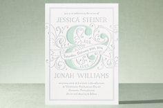 Elegant Scrollwork Ampersand Letterpress Wedding Invitations by DMHW design at minted.com