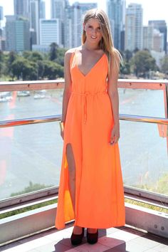 Neon Orange Maxi Dress