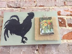 Rooster Sign with Picture Clip/Wooden Sign/Distressed Sign/Cottage Chic/Shabby Chic/Farmhouse by NAWLINSGIRLDESIGNS on Etsy