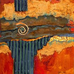 "CAROL NELSON FINE ART BLOG: ""Iron Strata"" mixed media abstract © Carol Nelson Fine Art"