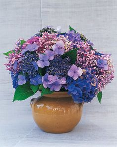 Hydrangea Arrangement - by late summer, these hardy shrubs are bursting in riotous colors and textures. In this arrangement, soft lavender mopheads pop out.