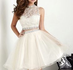 High Quality Two pieces Short Tulle Crystals Beaded Cocktail Dresses Mini Homecoming Dresses Homecoming Dress 2016 Cheap - Quince dresses - Short Sleeve Prom Dresses, White Homecoming Dresses, Two Piece Homecoming Dress, Hoco Dresses, Prom Party Dresses, Pretty Dresses, Beautiful Dresses, Mini Dresses, Quinceanera Dama Dresses