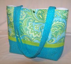 Aqua Lime Paisley Toile purse tote Bags