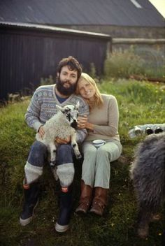 Paul & Linda on their farm where they raised goats, sheep, chickens & had a horse & an old english sheepdog