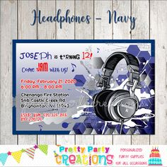 Computer Headphones, Listening To Music, Party Invitations, Party Supplies, Handmade Items, Digital, Etsy Shop, Navy, Hale Navy