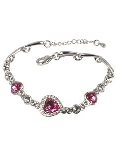 Dahlia Women's Bracelet - Heart Shaped Swarovski Elements Crystal - Pink. Length: 6.75 inches with a 1.2 inches adjustable chain tail. A link bracelet of three heart shaped Swarovski Elements crystals and sparkling rhinestones. Great for all occasions. Available in 2 Colors: Blue and Pink. Risk-Free Shopping: quality assurance in addition to a no-question-asked return policy.