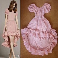 nueva moda 2015 de las mujeres vestido de algodón de color rosa violeta de cola de