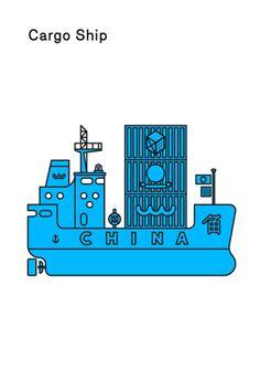 illustration cargo ship @ michelle dickey