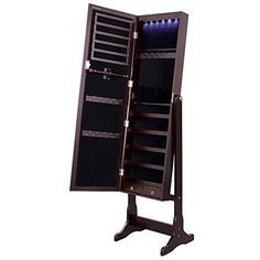 Jewelry Armoire Cabinet Full Length Mirror Freestanding LED Light Makeup Storage #SONGMICS