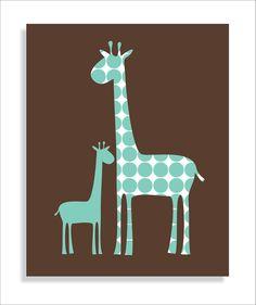 Giraffe Modern Children's Wall Art, Nursery wall art, Wall art for kids -8x10.