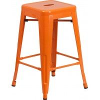 """24"""" High Backless Metal Indoor & Outdoor Counter Stool in Orange SCBB781O"""