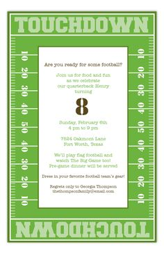 Touchdown Time Invitation from Polka Dot Design