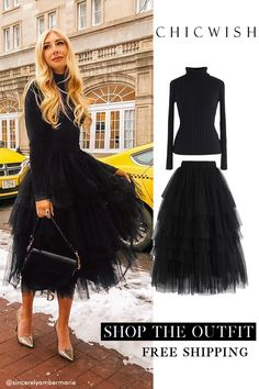Love me more black layered tulle skirt - Trend Hair Makeup And Outfit 2019 Look Fashion, Autumn Fashion, Fashion Tips, Vogue Fashion, Fashion Black, Fashion Ideas, Mode Outfits, Fall Outfits, Black And White Outfit