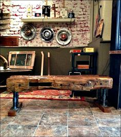 This bench is handcrafted from hand hewn beams taken from an Indiana barn built in Through family history we know that these beams were hand Barn Wood Projects, Reclaimed Wood Projects, Hand Hewn Beams, Wood Beams, Home Upgrades, Old Wood, Looks Cool, Rustic Furniture, Rustic Decor
